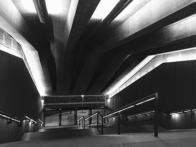 Black and White Photography of Stairs