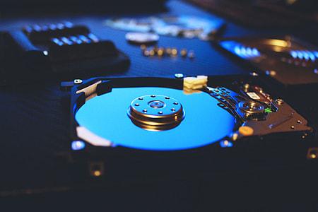 Closeup of a computer hard disc drive