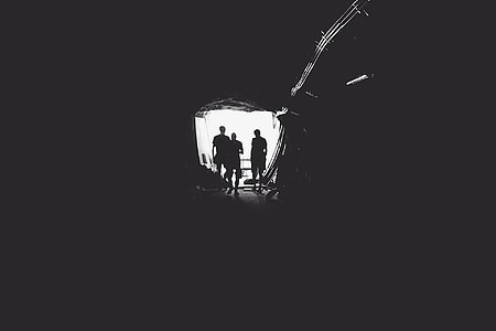 gray scale, photo, people, cave, tunnel, mining