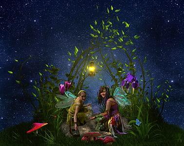 two women sitting near the flowers