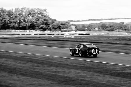 grayscale photo of race car