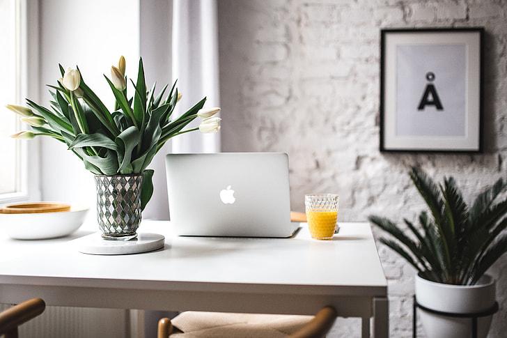 Stylish workspace with Macbook Pro