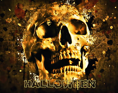 human's skull with halloween text overlay