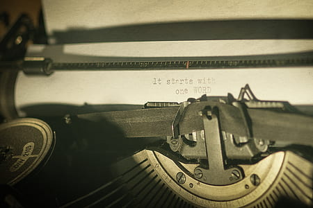 It Starts with one word typewritten text