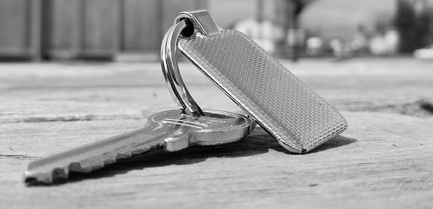 grayscale photo of grey key