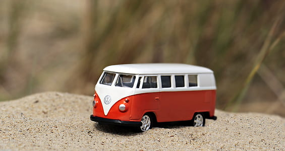 red and white Volkswagen die-cast