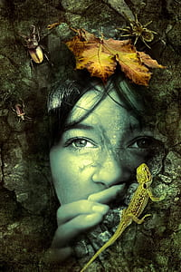 woman's face digital wallpaper
