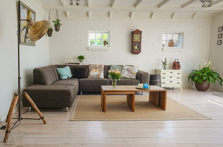 grey fabric sectional sofa with coffe table