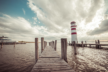 Pier with a Lighthouse: Vintage Edit