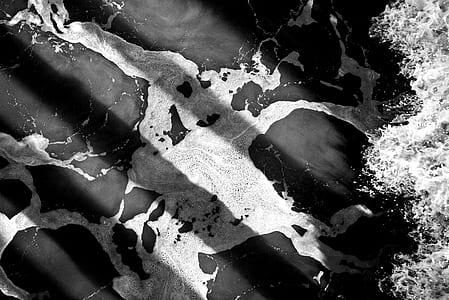 black and white, ocean, ocean foam, shadow, splash