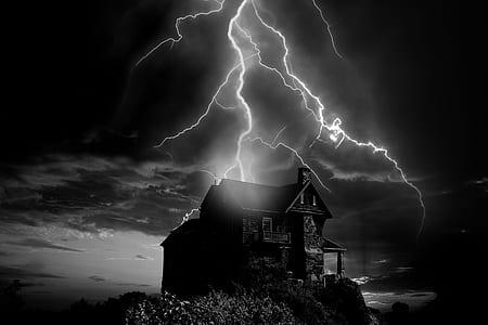 lightning striking house