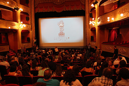 group of people watching movie
