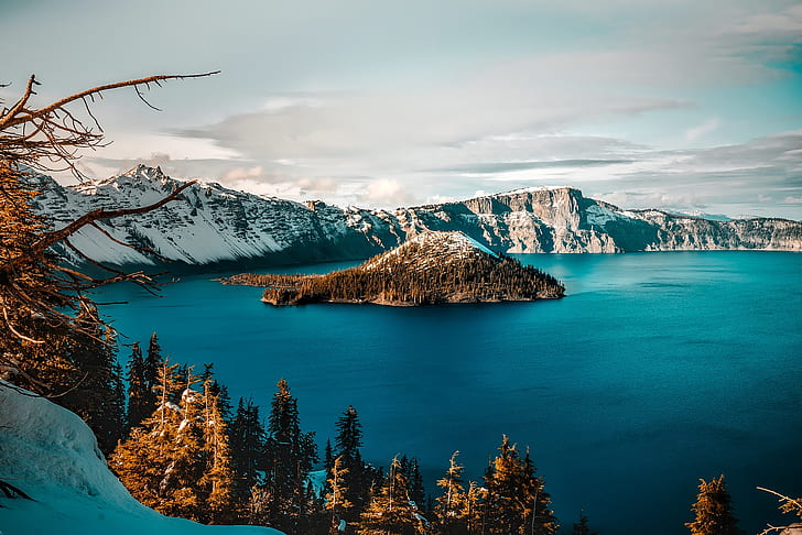 landscape photography of mountain alps and lake