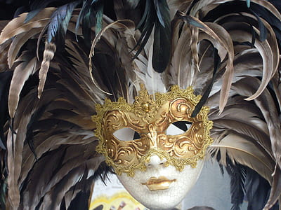 closeup photo of brown and gold feather masquerade mask