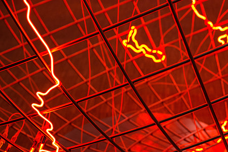Close-up shot of an electric art installation in a gallery in Paris, France. Image captured with a Canon 6D