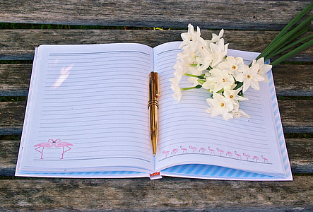 flat lay photography of open notebook with pen and flowers on top