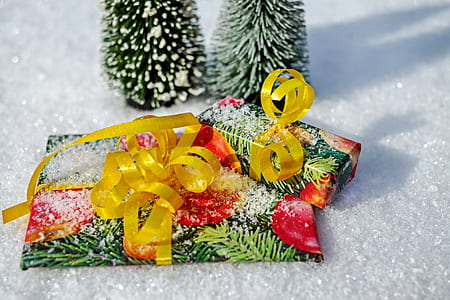 multicolored gift wrap beside Christmas tree