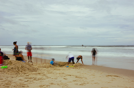 digging, beach, people, cloud, sand, sea