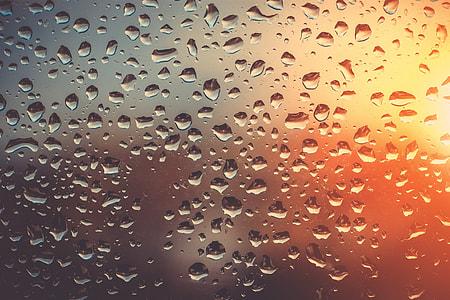 Abstract shot of rain on glass window