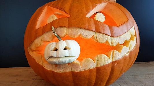 pumpkin head on brown table