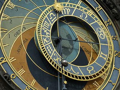 gray and brown horoscope clock
