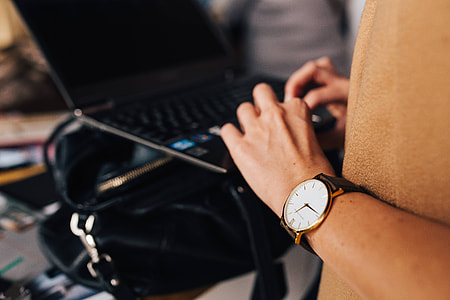 Woman working on a computer