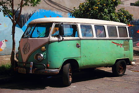 photograph of vintage green Volkswagen van