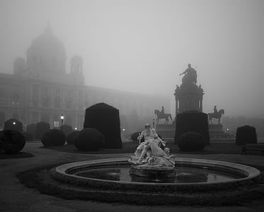 Two People Statue over Fog