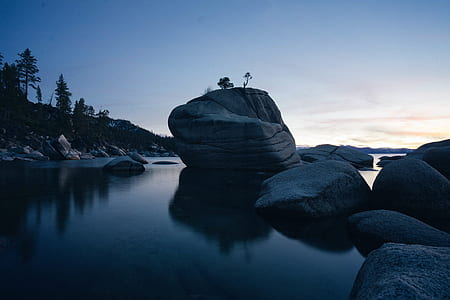 landscape photography of boulders