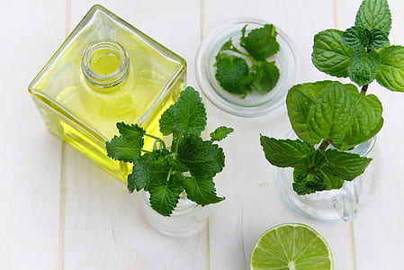 high angle photography of lime, plant, and oil in bottle