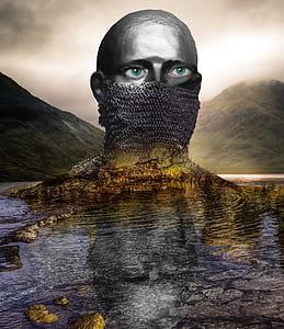 gray man head bust illustration