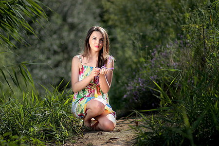 woman near grasses