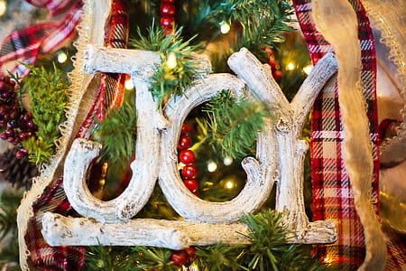 white joy letter decor