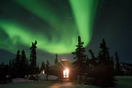 Night shot of the famous Northern Lights stars on display