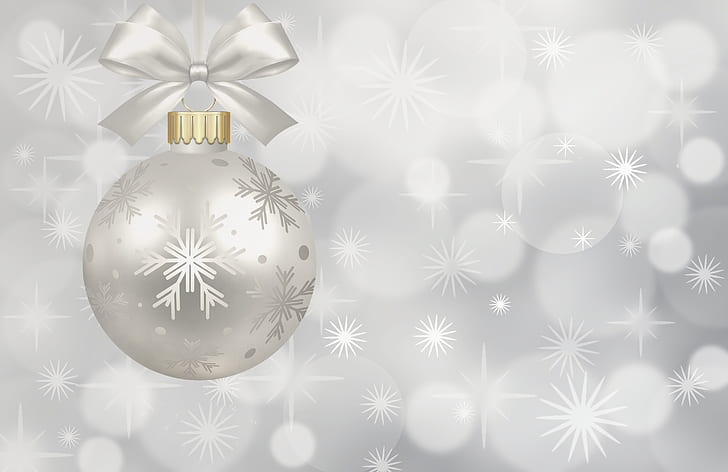 silver baoble with snowflakes print