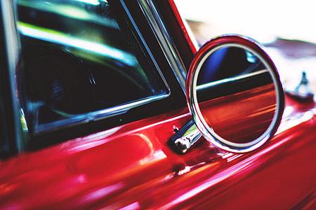 Closeup shot of car wing mirror