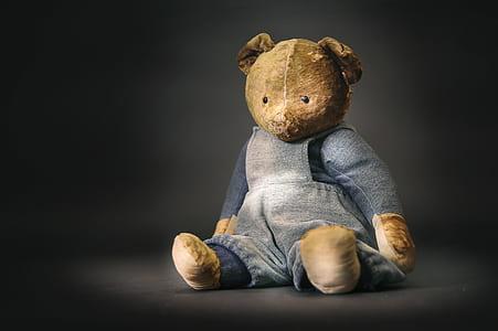 bear plush toy wearing gray long-sleeved dress