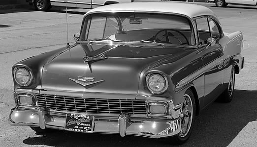 Chevrolet Bel Air grayscale photography during daytime