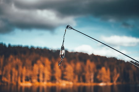 selective focus of fishing hook