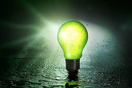 green incandescent bulb