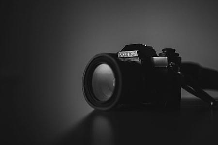 grayscale photo of Yashica camera