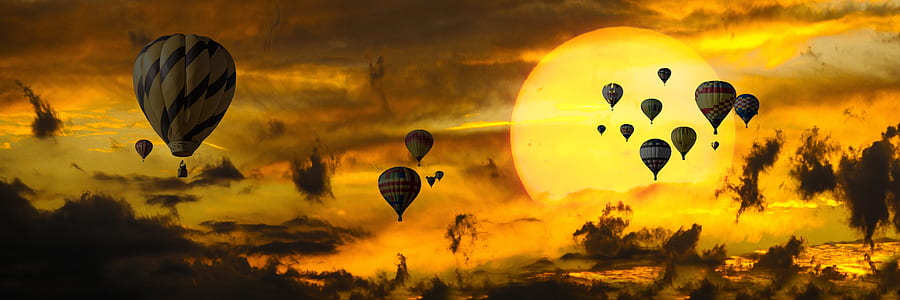 sky of hot air balloons