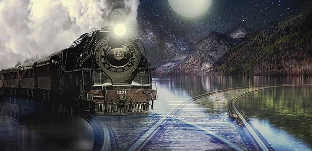 black train painting