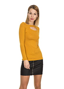 women's yellow long-sleeved top