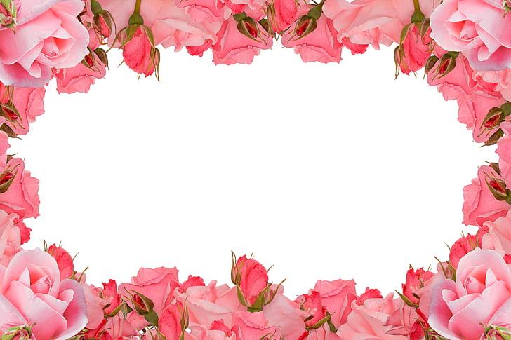 Royalty-Free photo: Pink floral frame \\ | PickPik