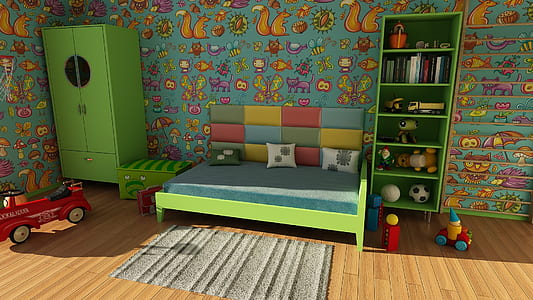 green wooden bed frame and mattress near green armoire
