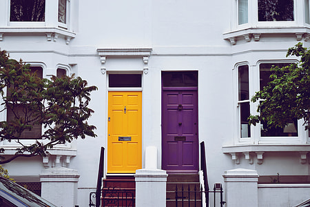 Front doors on residential houses