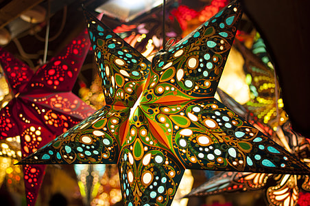closeup photo of multicolored star lantern