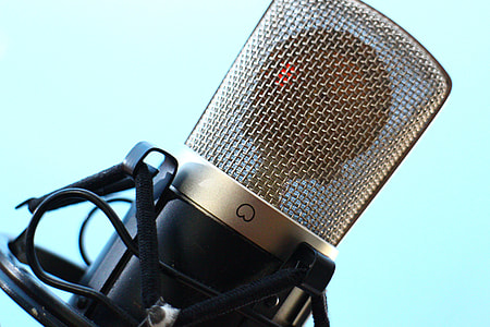 closed up photo of black condenser mic