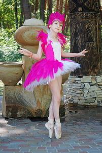 girl wearing white and pink ballerina dress